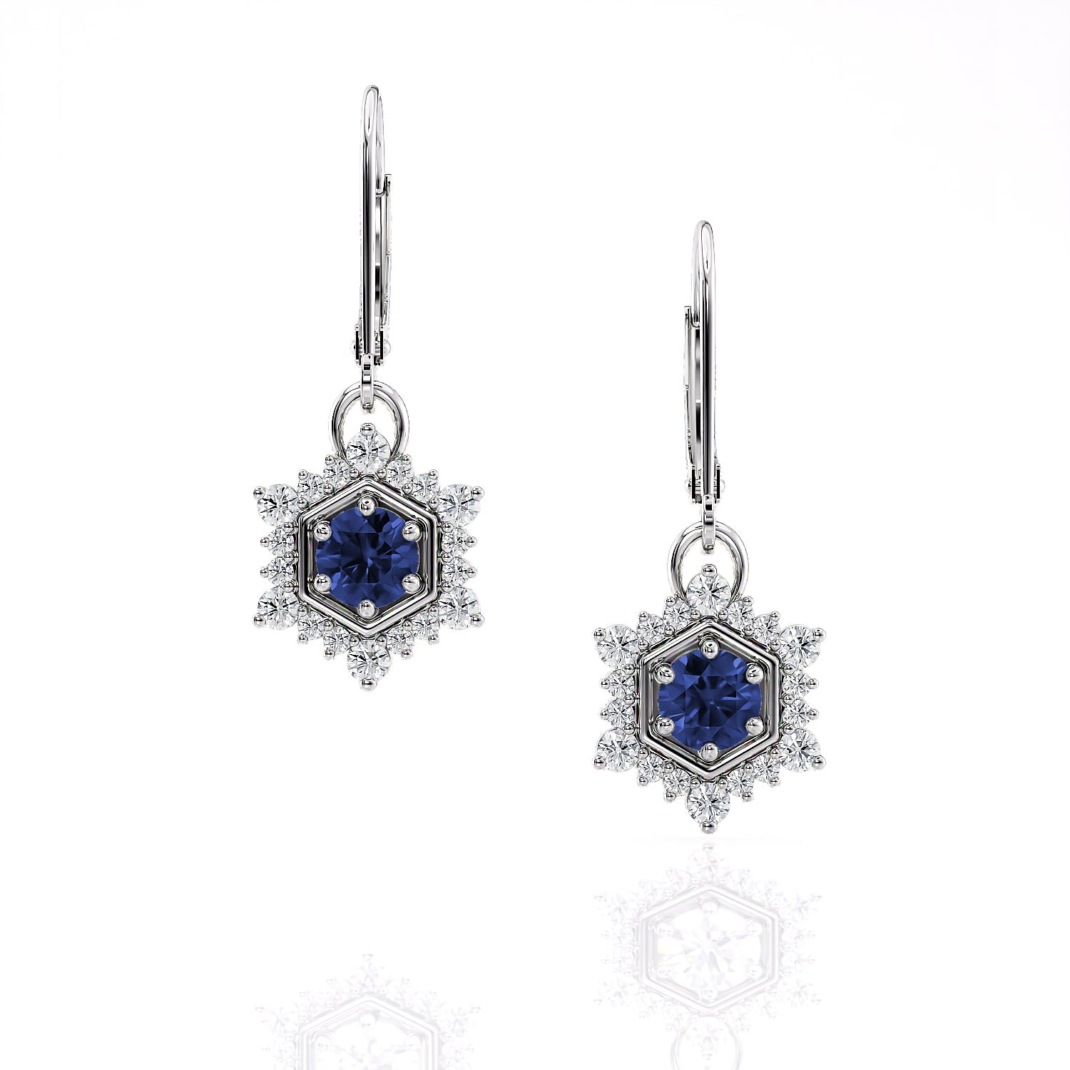 Camellia | Ceylon Blue Sapphire Hexagon Single Drop Earrings
