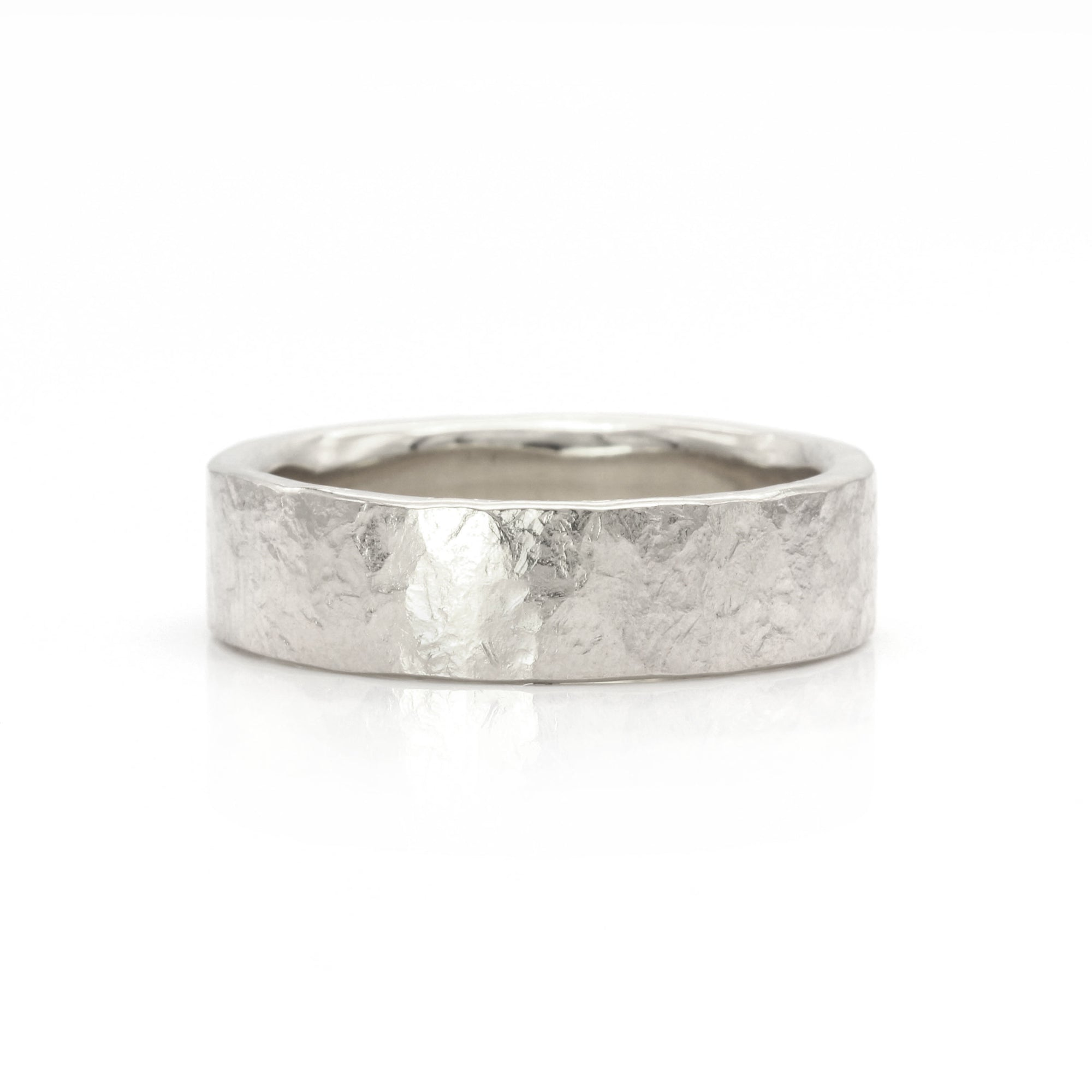Organic Silk Textured Band | 6mm Wide | Palladium White Gold, Platinum