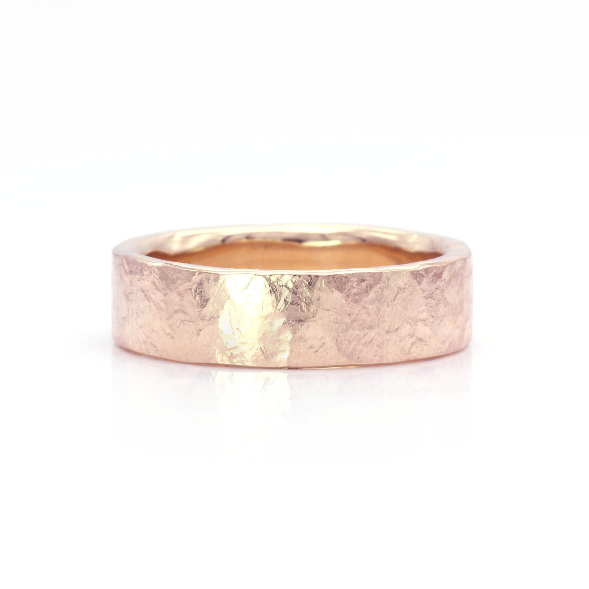 Organic Silk Textured Band | 6mm Wide | Rose Gold