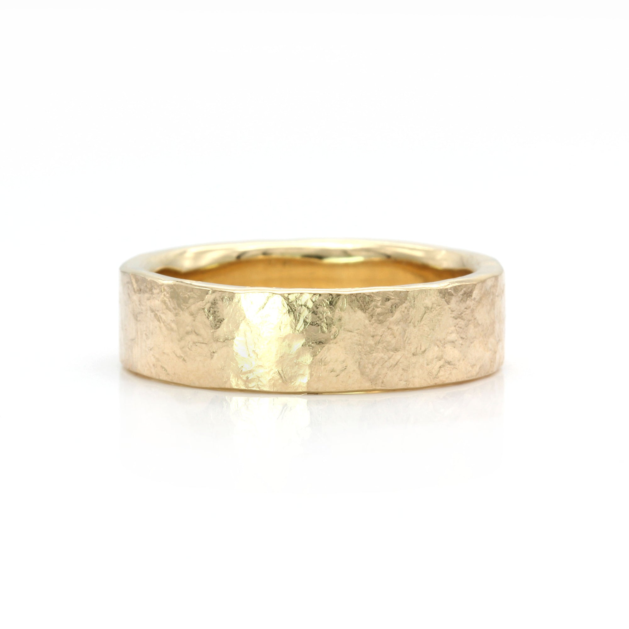 Organic Silk Textured Band | 6mm Wide | Yellow Gold