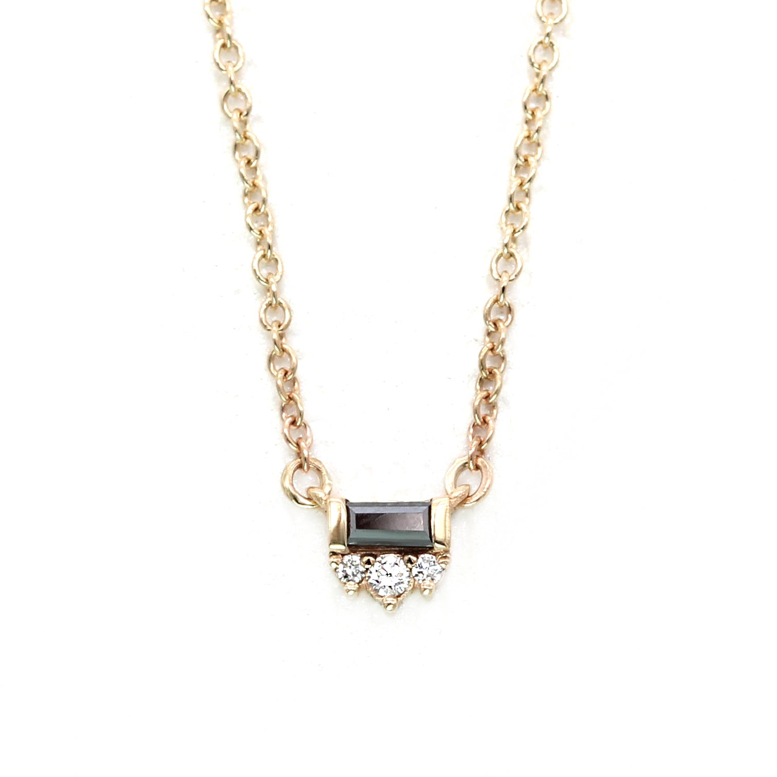 Black Tie Necklace - Baguette Black Diamond & White Diamonds - Yellow Gold