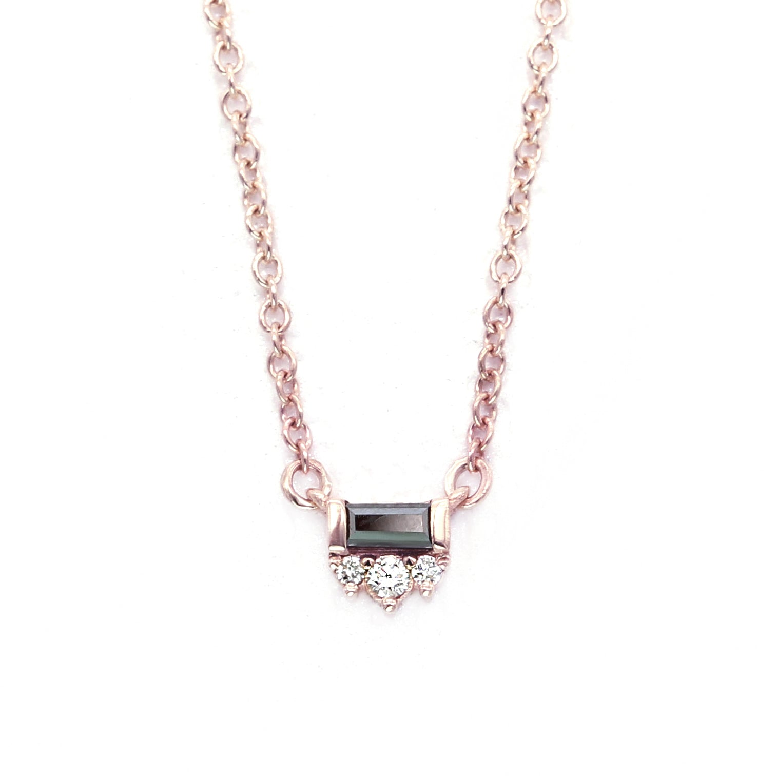 Black Tie Necklace - Baguette Black Diamond & White Diamonds - Rose Gold