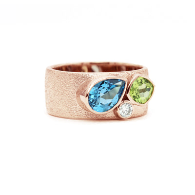 Three Stone Mother's Ring | Wide Textured Band | Rose Gold