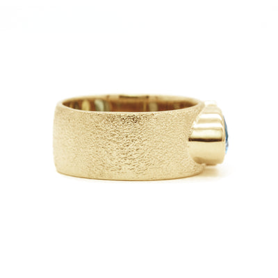 Three Stone Mother's Ring | Wide Textured Band | Yellow Gold
