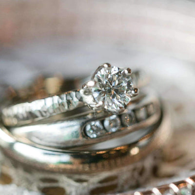 Rustic Hammered Engagement Ring with Diamond or Moissanite Gemstone-Alysha Whitfield