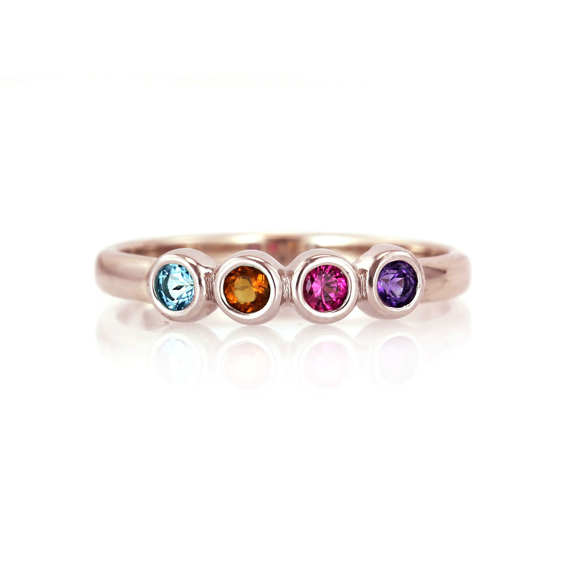 Classic Bezel Mother's Ring with Natural Birthstones | Rose Gold
