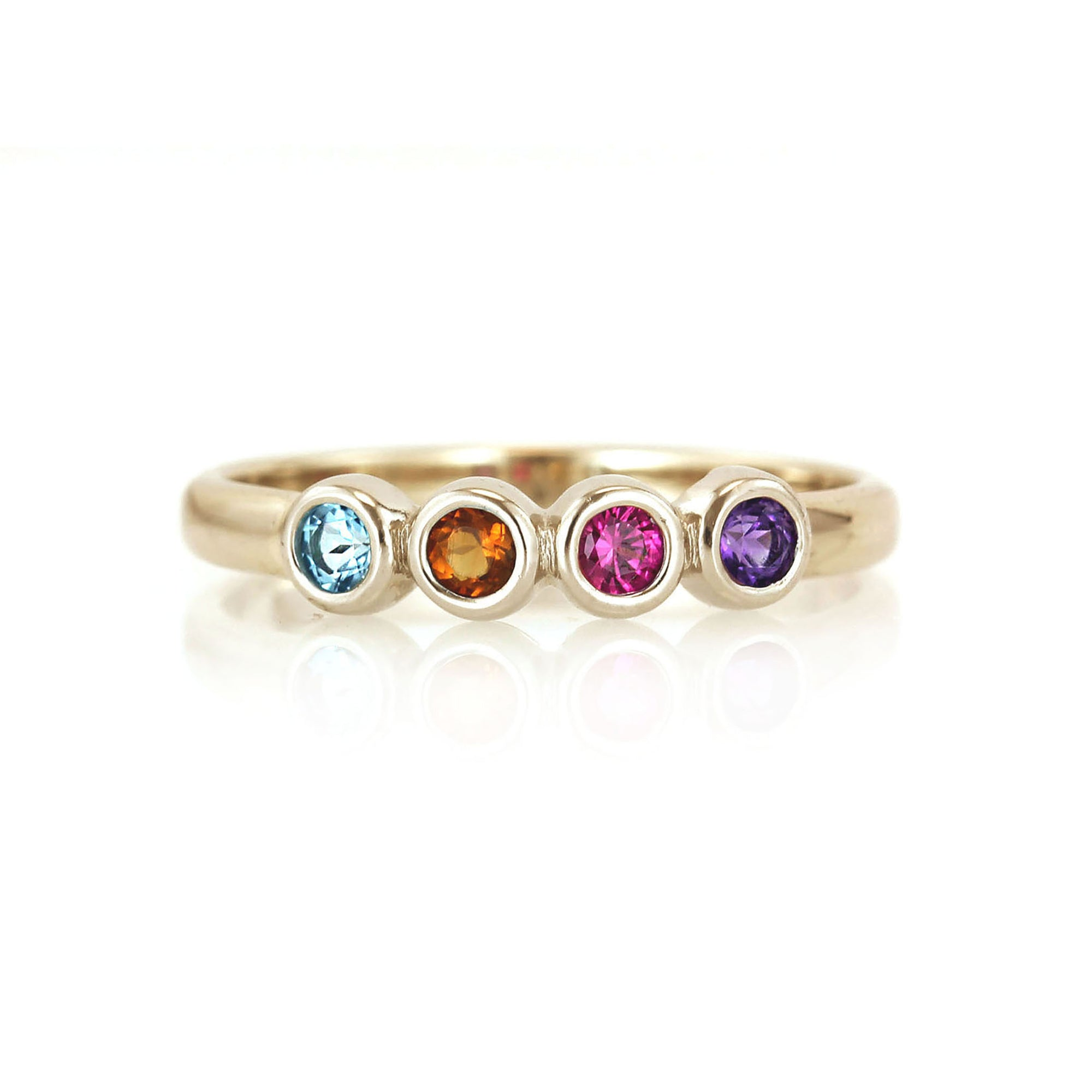 Classic Bezel Mother's Ring with Natural Birthstones | Yellow Gold