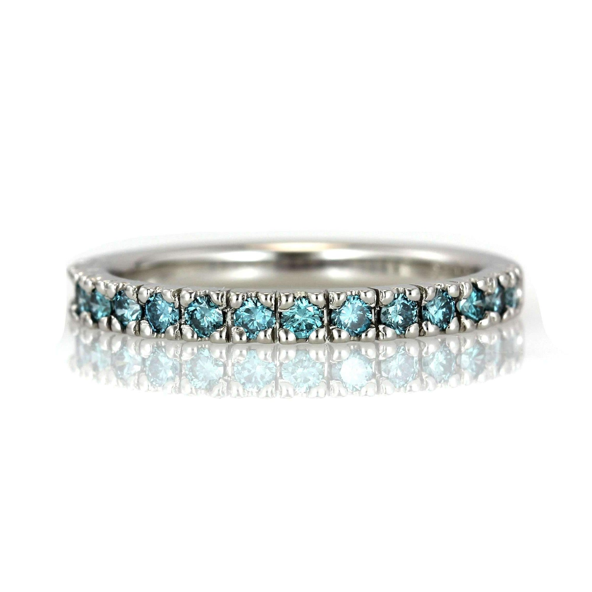 Aqua Blue Diamond Wedding Band - French Pave Setting-Alysha Whitfield