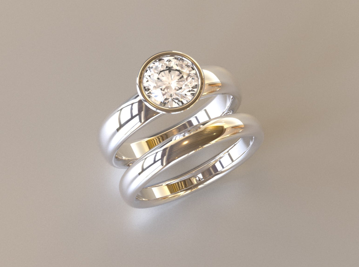 Custom Moissanite Engagement Ring & Wedding Band Set for Kris - 2nd Payment