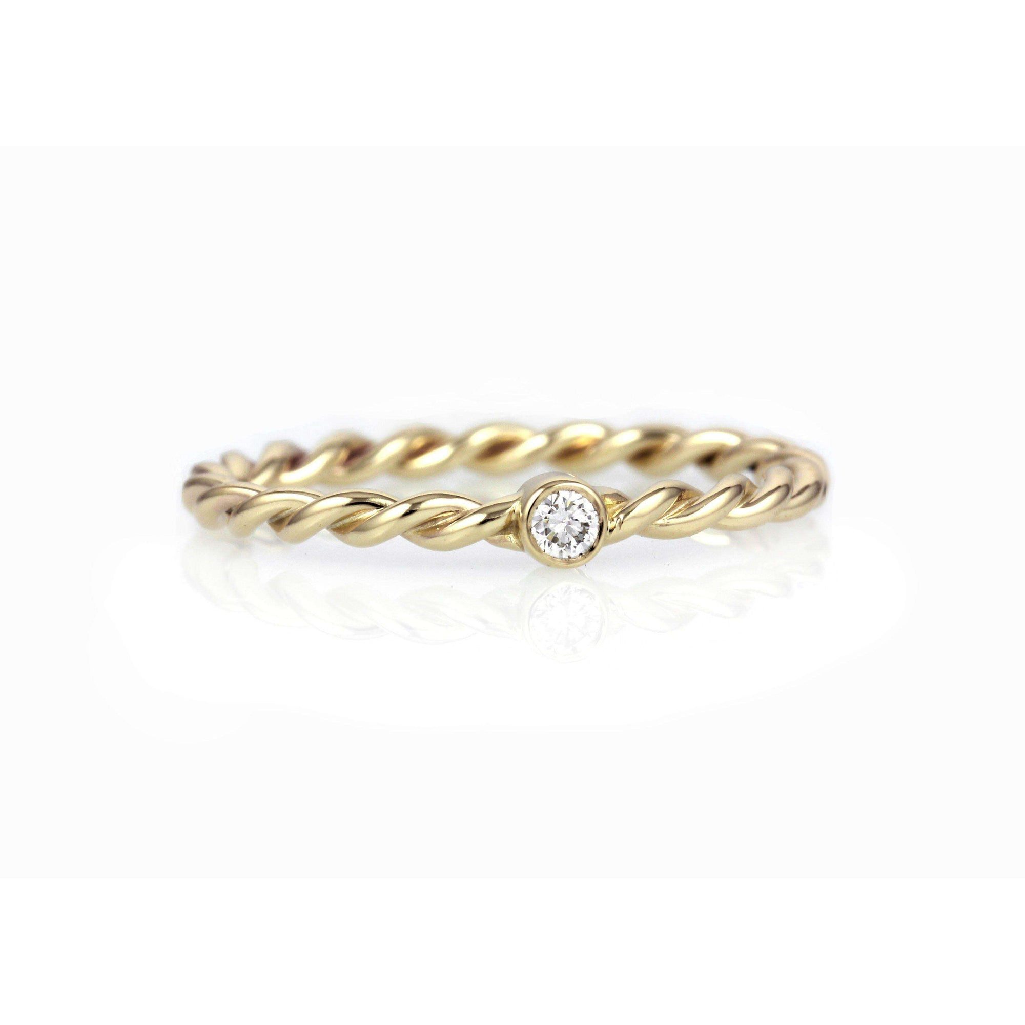 White Diamond Twisted Band Ring