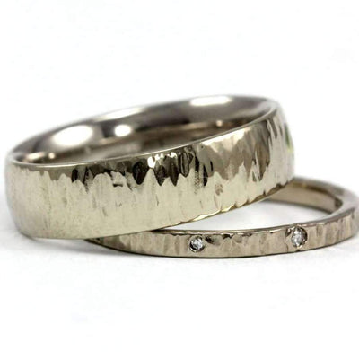 Finely Hammer Textured Comfort Fit Men's Ring Band-Alysha Whitfield