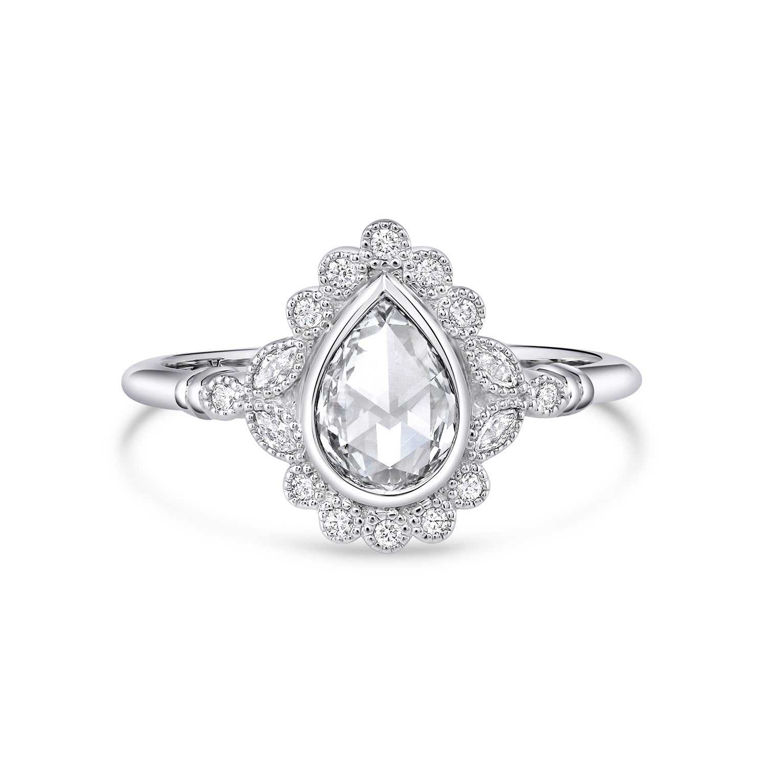 Everly | Pear Rose Cut Moissanite Milgrain Bezel Engagement Ring | Palladium White Gold - Platinum