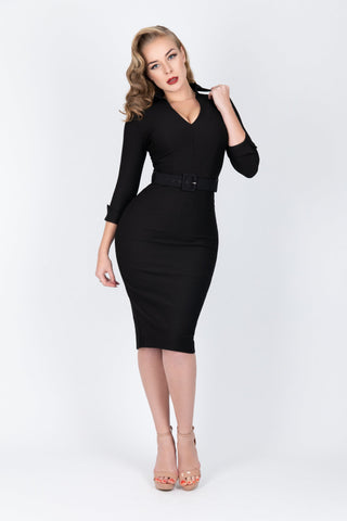 Elizabeth - Black Plunge Neck Dress
