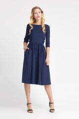 Vivian - Navy Ruched Dress