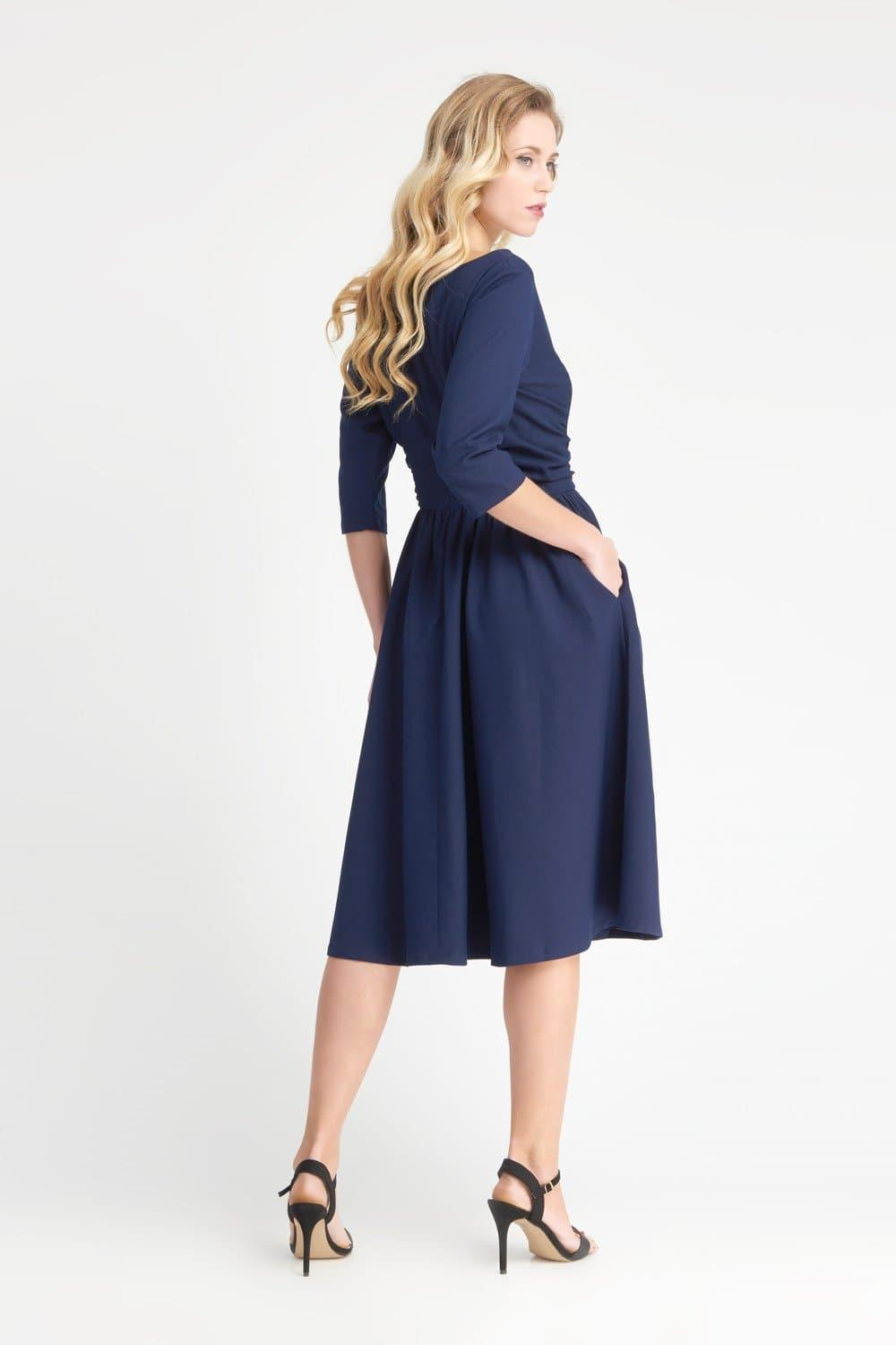 Vivian - Navy Ruched Dress - Zoe Vine