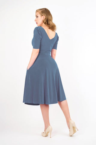 Natalie - Dove Grey Puff Sleeve Dress - Zoe Vine