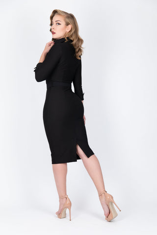 Elizabeth - Plunge Neck Wiggle Dress