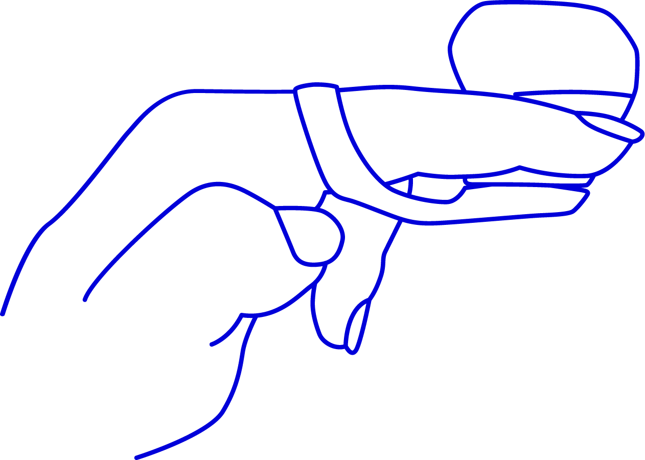 Image of hand cupped with fingers extended holding Fin above the hand and at the base of fingers