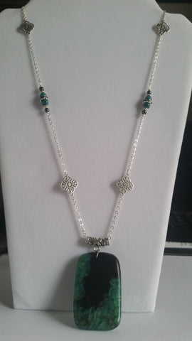 Druzy Geode Agate, Malachite and Hematite Necklace - Creations by Tammy - 1