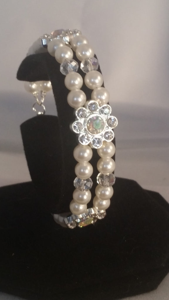 Pearl, Rhinestone and Crystal Bracelet - Creations by Tammy - 1
