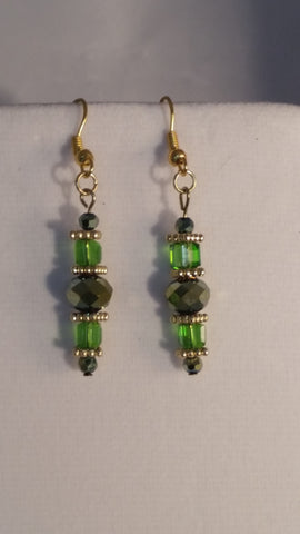 Green and Gold Dangle Earrings - Creations by Tammy