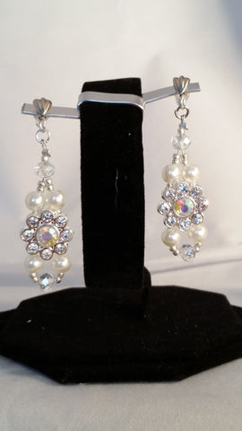Pearl, Crystal and Rhinestone Earrings - Creations by Tammy - 1