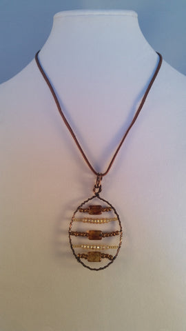 Wire Wrapped Horizontal Bead Necklace - Creations by Tammy - 1