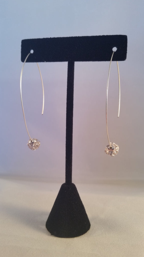 Rhinestone Ball Arch Earrings - Creations by Tammy - 1
