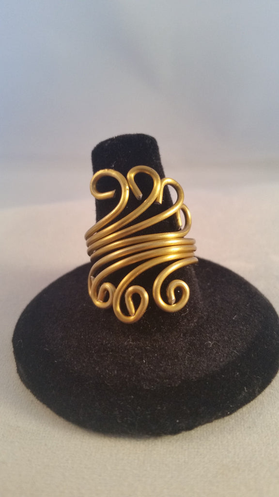 Golden Scrolled Ring - Creations by Tammy - 1