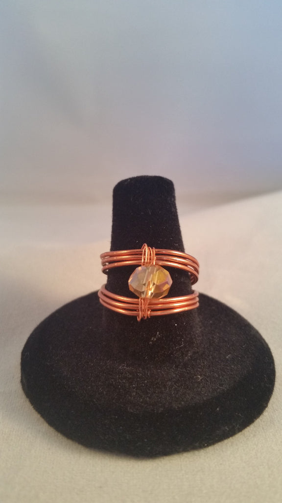 Copper and Amber Crystal Split Band Ring - Creations by Tammy - 1
