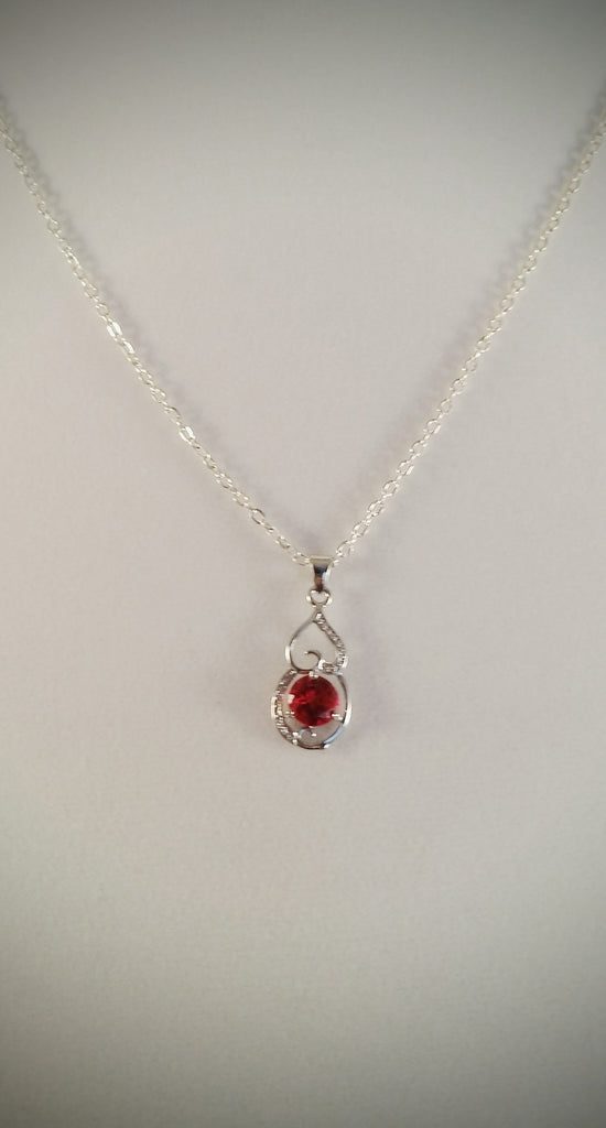 Sterling Silver & Created Ruby Pendant - Creations by Tammy - 1