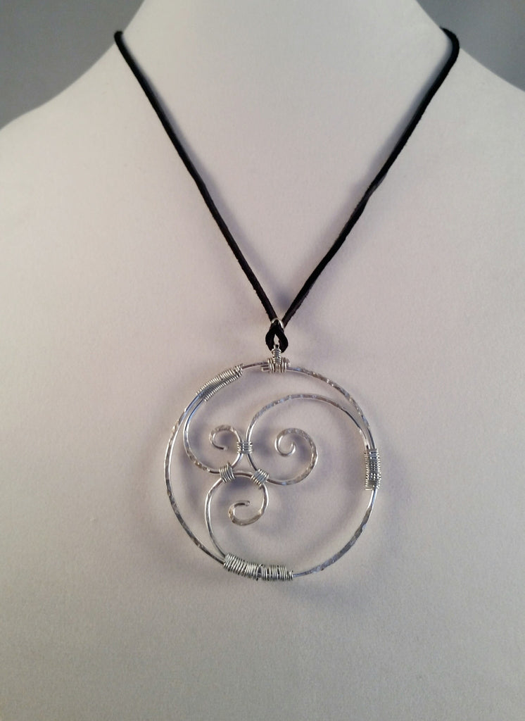Hand Hammerd & Formed Silver Swirl Necklace - Creations by Tammy - 1