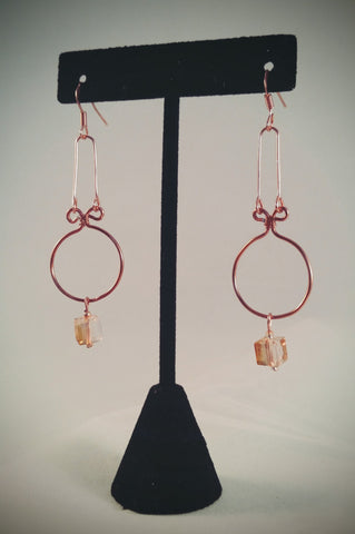 Hand formed Copper & Crystal Earrings - Creations by Tammy - 1