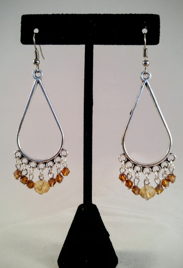 Silver & Champagne Chandelier Earrings - Creations by Tammy - 1