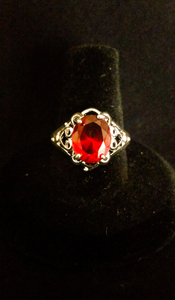 Sterling Silver Filigree Ring with Ruby Crystal - Creations by Tammy - 1