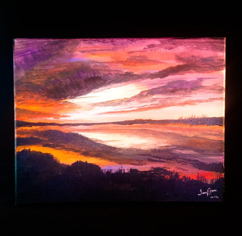 Sunset on the Swamp - Acrylic on Canvas - Creations by Tammy