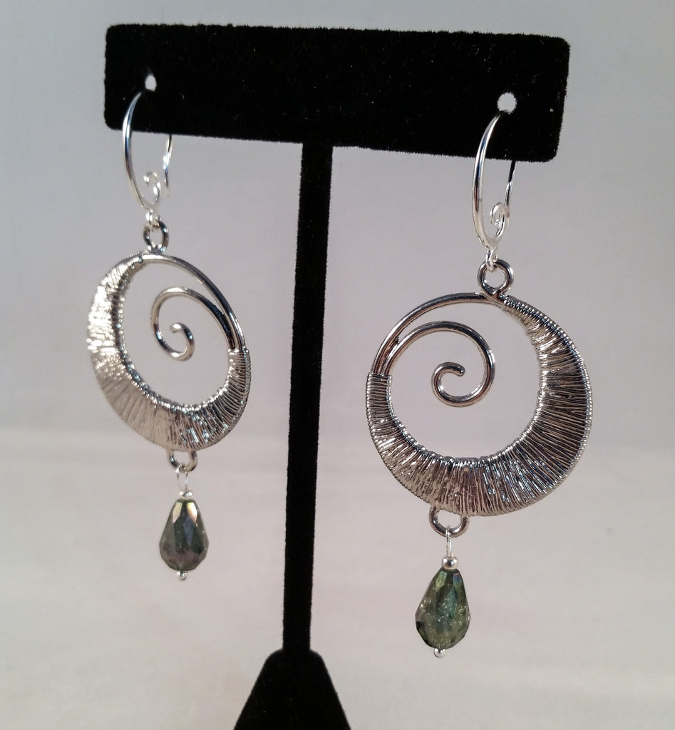 Silver Swirl and Crystal Earrings - Creations by Tammy - 1