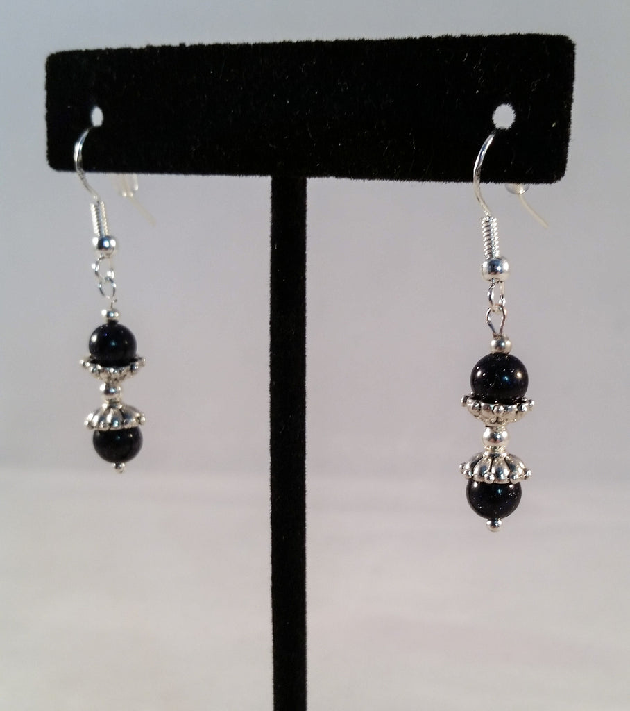 Sterling & Sunstone Bead Earrings - Creations by Tammy - 1