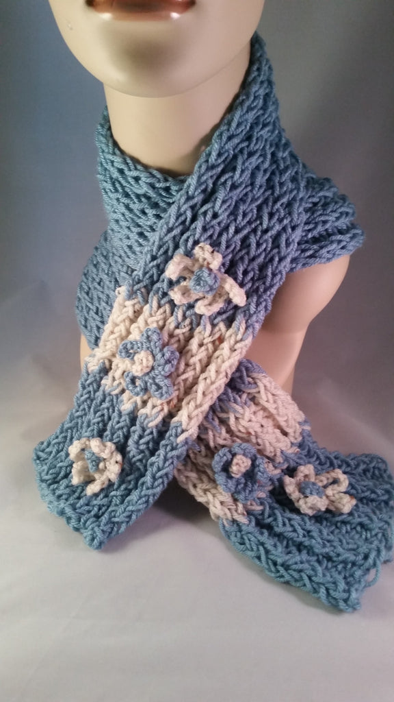 Teal and Ivory Flowerd Scarf - Creations by Tammy