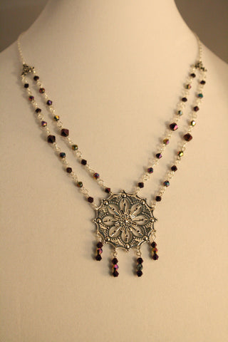 Purple Crystal & Silver Medallion Necklace - Creations by Tammy - 1