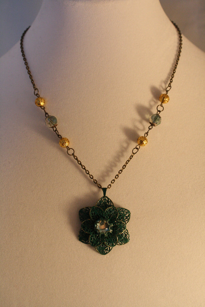Antiqued Flower Necklace - Creations by Tammy - 1