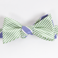 American Made Collared Greens Silk Courtside Mixer Bow Tie Green Purple Stripes