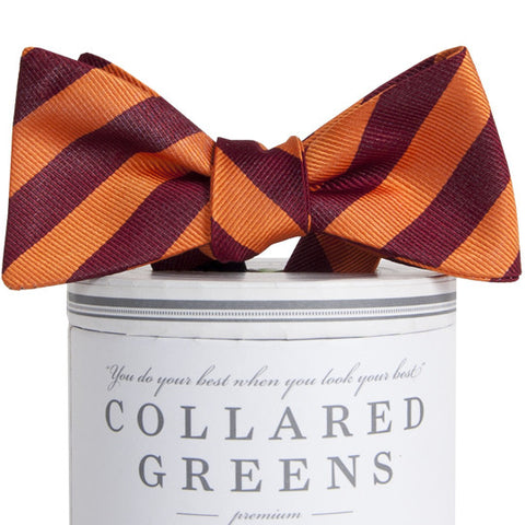 American Made Collared Greens Davis Bow Tie Maroon Orange Classic Stripe