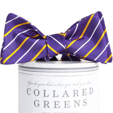 American Made Collared Greens Lewis Bow Tie Purple Gold Classic Stripe