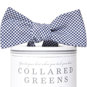 American Made Collared Greens Cotton Self Tie Bow Tie Barbaro Gingham Blue