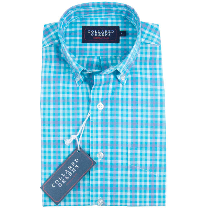 The Wilton Button Down Shirt Teal/Pink/White
