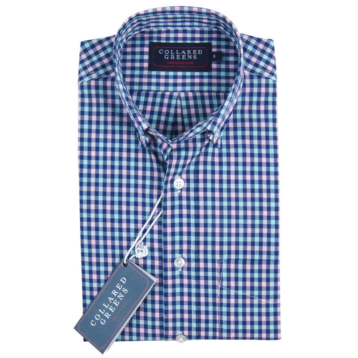 The Wilton Button Down Shirt Navy/Teal/Pink