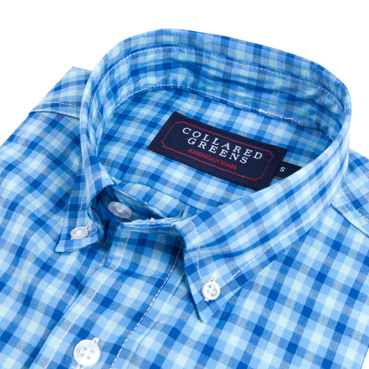 The Wilton Button Down Shirt Navy/Carolina/Teal - Collared Greens