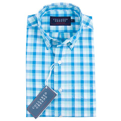 The Cary Button Down Shirt Blue/Teal/White - Collared Greens