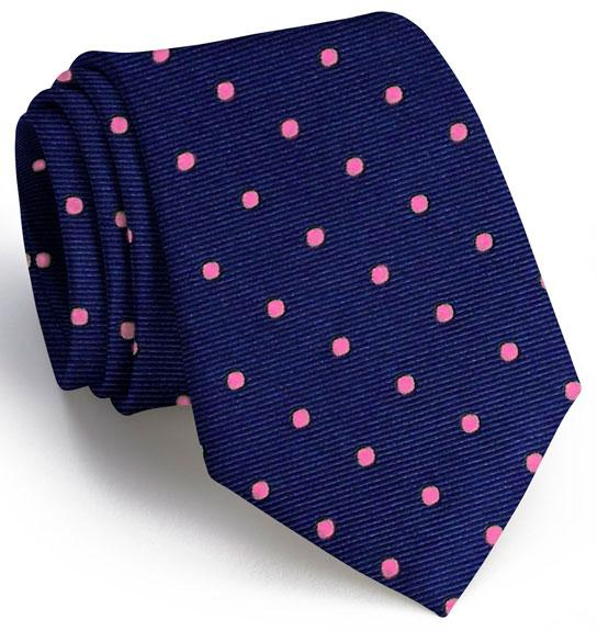 American Made Collared Greens Tie Navy/Pink Made in the USA